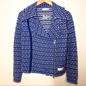 Odd Molly Blue Sweater Cardigan Side Zip Large